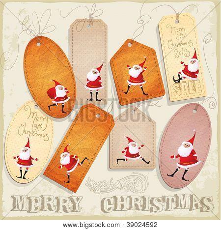 Coleção de Natal vetor elementos decorativos. Etiquetas, rótulos, etiquetas com Santa, tr de Natal