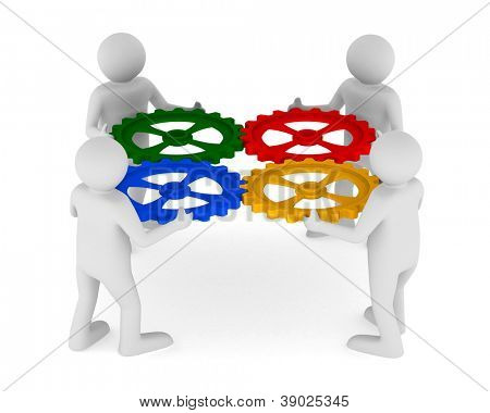 four man with color gear on white background. Isolated 3D image