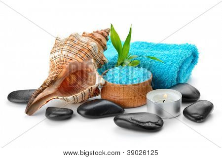 spa composition with shell and  toning sea crystals