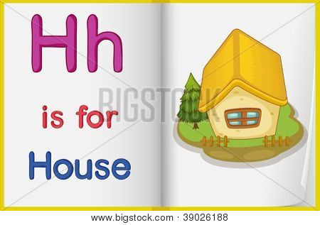 illustration of a book  with a picture of a house