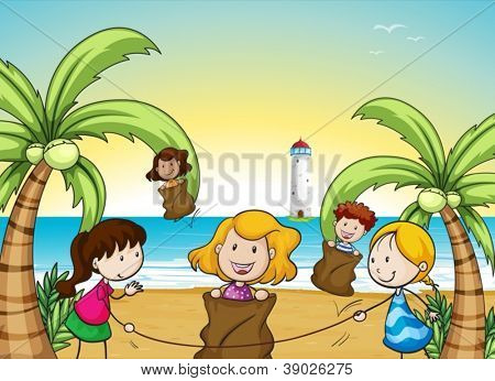 illustration of kids in a beautiful nature
