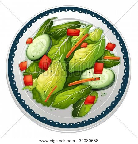 illustration of a salad and a dish on a white background
