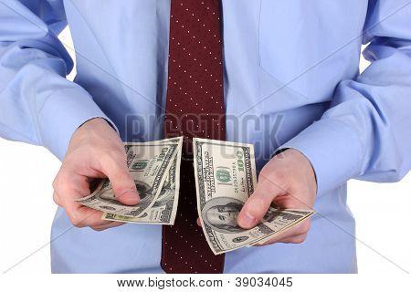 man recounts dollars close-up