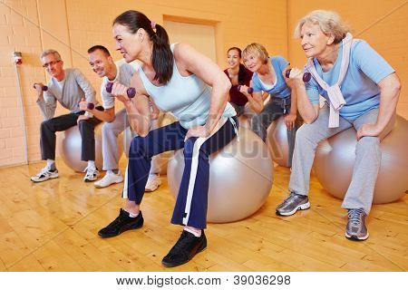Group of senior citizens doing dumbbell training in gym