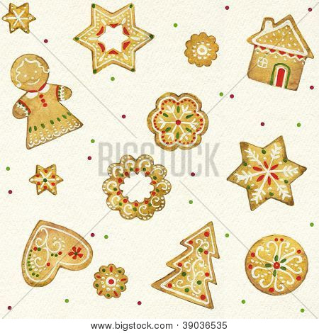 Gingerbread Christmas cookies seamless pattern