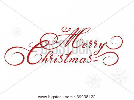 vector Merry Christmas card, hand drawn alphabet