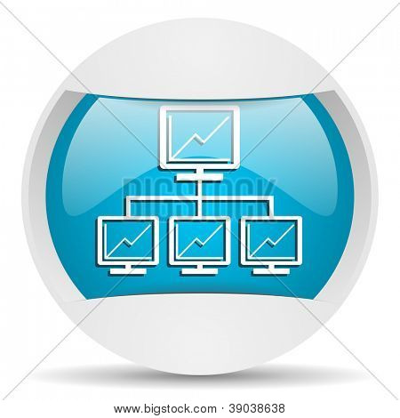 network round blue web icon on white background