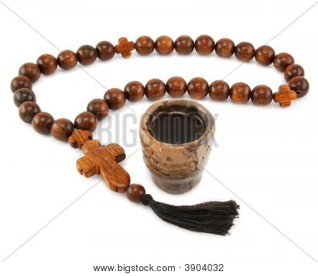 Wood Rosary And Ancient Glass