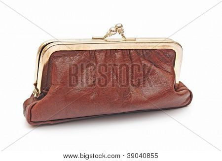 brown leather purse on white background