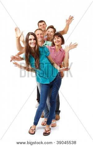 Happy large caucasian family having fun and smiling, full length portrait over white background