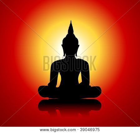 Black buddha silhouette against red background
