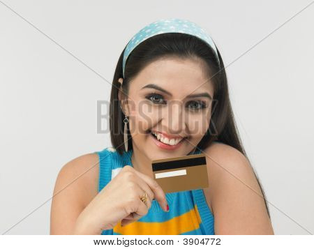 Asian Lady Of Indian Origin  With Credit Card