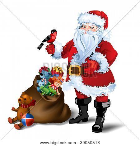 Ilustração vetorial de Papai Noel com saco cheio de presentes.
