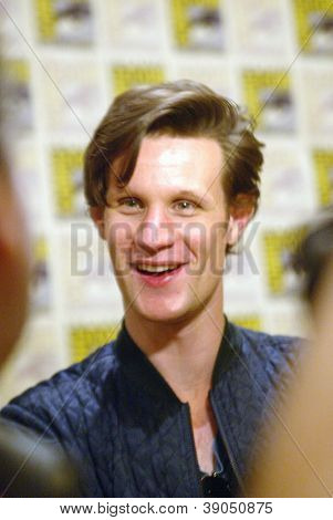 SAN DIEGO, CA - JULY 15: Matt Smith arrives at the 2012 Comic Con convention press room at the Bayfront Hilton Hotel on Sunday, July 15, 2012 in San Diego, CA.