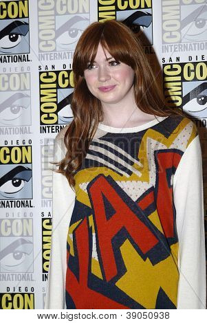 SAN DIEGO, CA - JULY 15: Karen Gillan arrives at the 2012 Comic Con convention press room at the Bayfront Hilton Hotel on Sunday, July 15, 2012 in San Diego, CA.