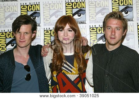 SAN DIEGO, CA - JULY 15: Matt Smith, Karen Gillan and Arthur Darvill arrive at the 2012 Comic Con convention press room at the Bayfront Hilton Hotel on Sunday, July 15, 2012 in San Diego, CA.