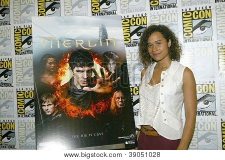 SAN DIEGO, CA - JULY 15: Angel Coulby arrives at the 2012 Comic Con convention press room at the Bayfront Hilton Hotel on Sunday, July 15, 2012 in San Diego, CA.
