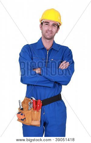 Worker wearing a toolbelt