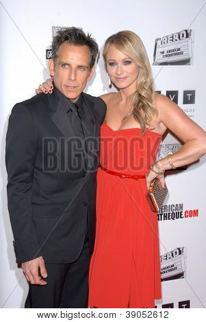 LOS ANGELES - NOV 15:  Ben Stiller, Christine Taylor arrives for the 26th American Cinematheque Award Honoring Ben Stiller at Beverly Hilton Hotel on November 15, 2012 in Beverly Hills, CA