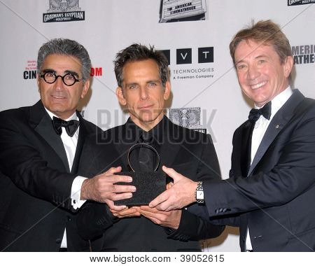 LOS ANGELES - NOV 15: Eugene Levy, Ben Stiller, Martin Short in the press room of the 26th American Cinematheque Award for Ben Stiller at Beverly Hilton Hotel on November 15, 2012 in Beverly Hills, CA