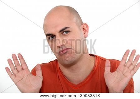Man holding his hands up