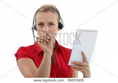 Administrative worker pointing her pen