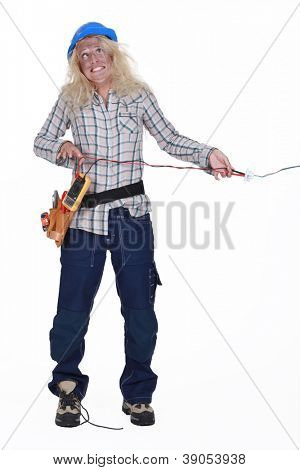 Woman electrocuting