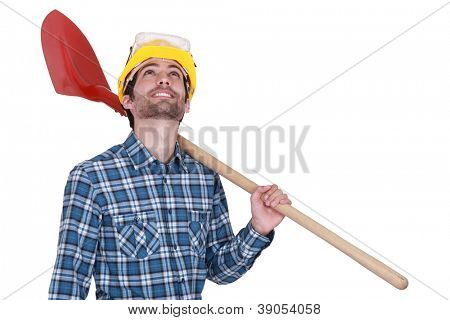 Distracted builder holding shovel