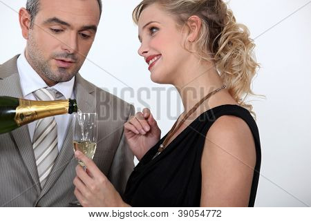 Woman serving champagne