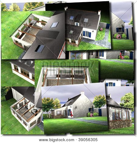 Collage with images of house renderings