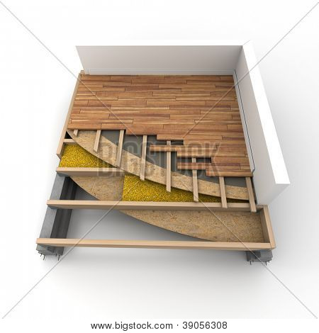 3D rendering of construction flooring details