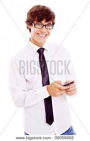 Young smiling latin man in black glasses, white shirt and tie enjoying mobile phone. Isolated on white background, mask included