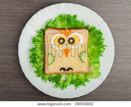 Design Food. Creative Sandwich For Child With  Picture Little Owl