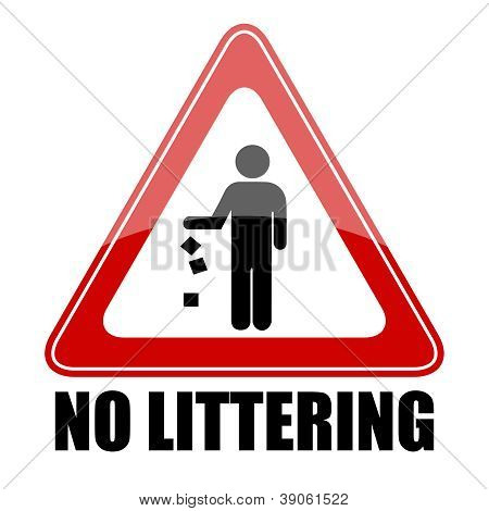Vector no littering sign
