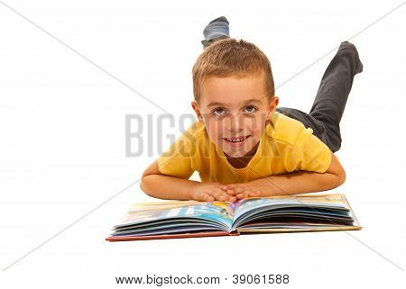 Happy Boy Reading A Story