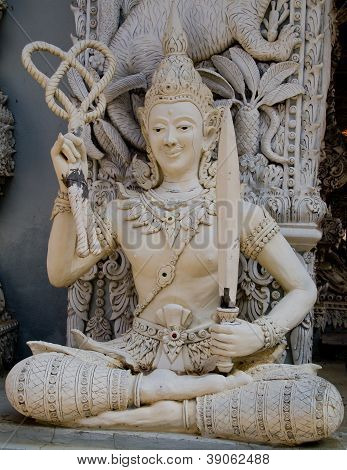 Ascetic With Rope And Blade Statue In Traditional Thai Style Molding Art