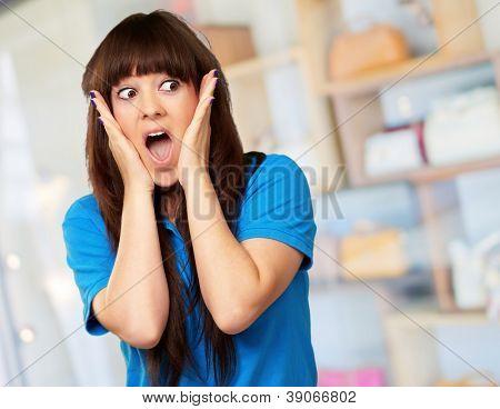 portrait of surprised woman, indoor