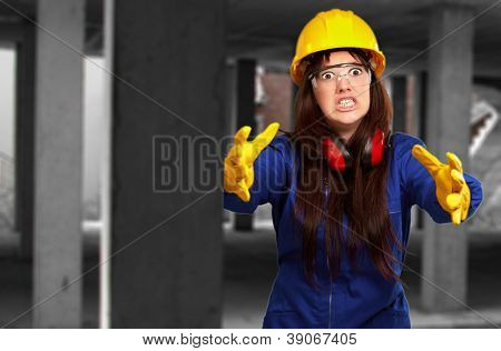 Portrait Of A Frustrated Female Worker, Outdoor