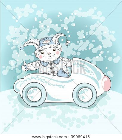 Boy And Snow Car