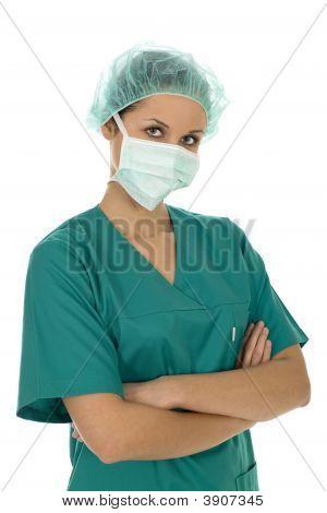 Female Surgeon Wearing Scrubs