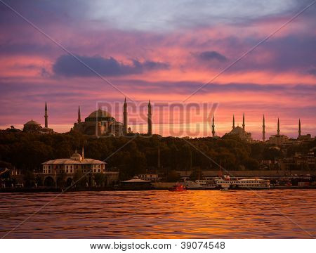 Sunset over Istanbul Silhouette