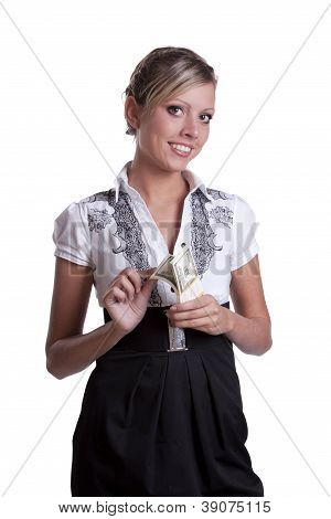 Business lady holding dollars