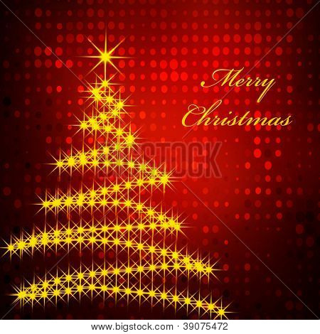 Holiday background with christmas tree and greetings