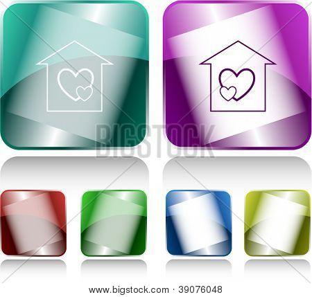 Orphanage. Internet buttons. Raster illustration.