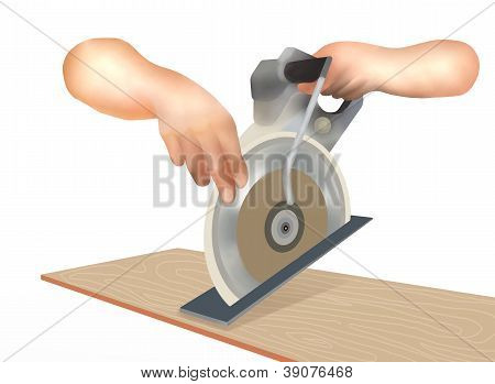 Human Hand Working With A Circular Saw