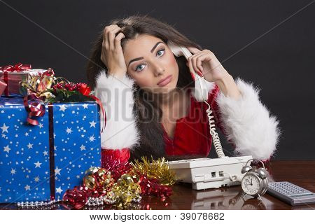 Stressed Santa Girl At Work