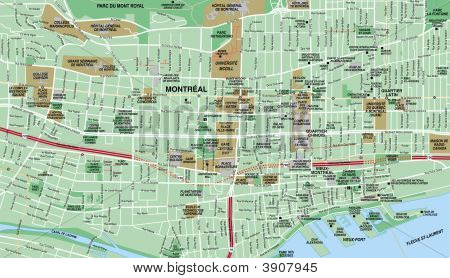 Local Street Map For Downtown Montreal, Canada
