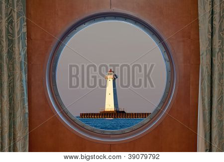 Sodus Bay Lighthouse Seen Through A Porthole