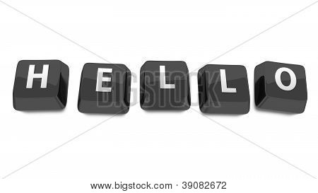 Hello Written In White On Black Computer Keys. 3D Illustration. Isolated Background.