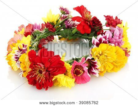 wreath of beautiful summer flowers, isolated on white